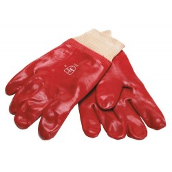 RED PVC KNIT WRIST GLOVES (120P/C)